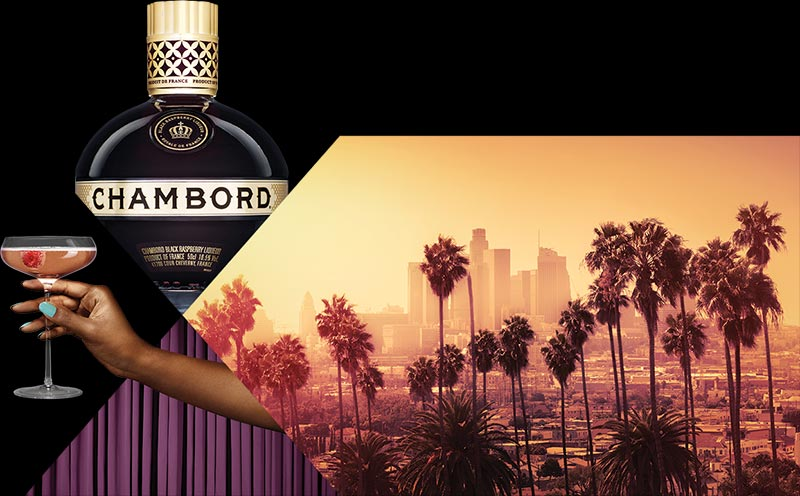 CHAMBORD BOTTLE, GLASS AND LOS ANGELES SKYLINE